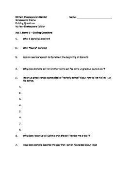 Hamlet A1, S3 Guided Reading Questions