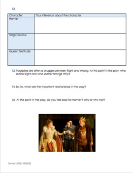 Hamlet Act 1 - Guided Questions on Graphic Organizer with Answer Key