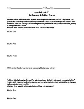 Hamlet Act 1: Marzano Problem/Solution Frame