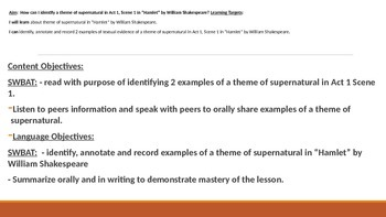 IR Hamlet Act 1 Scene 1 - Theme of Supernatural Lesson PPt