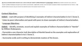IR Hamlet - Act 1, Scene 2 - Characterization Lesson PPt