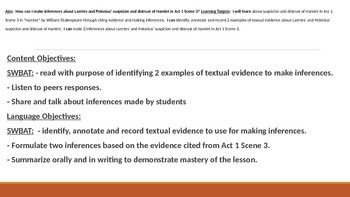 IR Hamlet Act 1 Scene 3 - Inferences Lesson PPt