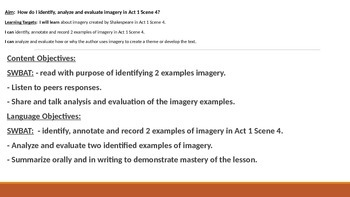 IR Hamlet Act 1 Scene 4 - Imagery Lesson PPt