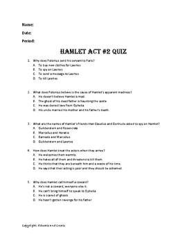 Hamlet Act 2 Quiz