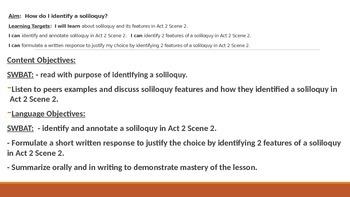 IR Hamlet Act 2 Scene 2 - Identifying soliloquy lesson plan ppt