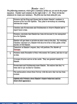 Hamlet Act 2 - Summative Learning Activities