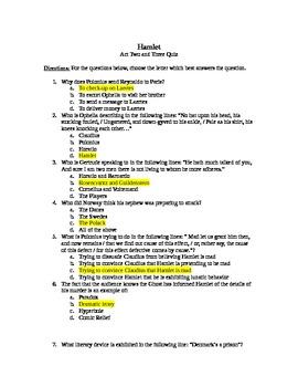 Hamlet Act 2 and 3 Quiz