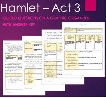 Hamlet Act 3 - Guided Questions on Graphic Organizer with Answer Key