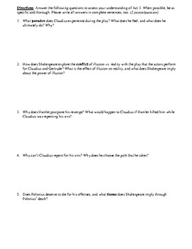 Hamlet Act 3 Multiple Choice and Short Answer Quiz