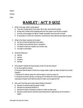 Hamlet Act 3 Quiz