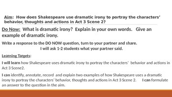 IR Hamlet Act 3 Scene 2 - use of dramatic irony lesson ppt
