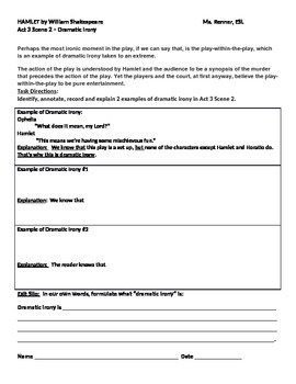 IR Hamlet Act 3 Scene 2 - use of dramatic irony worksheet