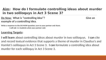 IR Hamlet Act 3 Scene 3 - controlling ideas about murder in the soliloquys