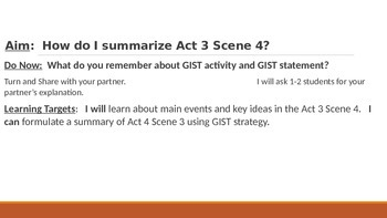 IR Hamlet Act 3 Scene 4 - Summary using GIST activity lesson ppt