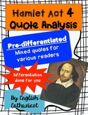 Hamlet Act 4 Quotes Activity - Differentiated!
