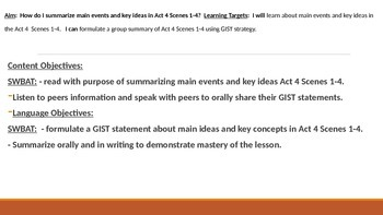 IR Hamlet Act 4 Scenes 1-4 GIST Activity Lesson Ppt