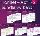 Hamlet Act 1, 2, 3, 4 & 5- Guided Questions Bundle Unit Pl