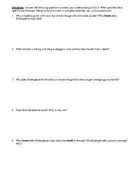 Hamlet Act 5 Multiple Choice and Short Answer Quiz