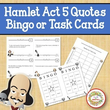 Hamlet Act 5 Quotes Bingo Game and Task Cards