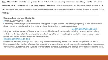 IR Hamlet Act 5 Scene 1 - SOS statement Lesson PPt