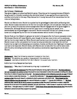 IR Hamlet Act 5 Scene 1 - SOS statement worksheet