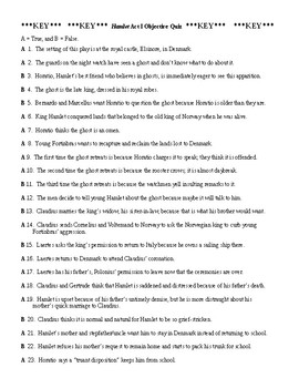 Hamlet Act I Objective Quiz & KEY (50 Questions)