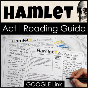 Hamlet Act I Reading Guide & Study Guide to Foster a Love of Shakespeare!
