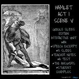 Hamlet Act I Scene V - Google Slides, Close Reading, Textual Analysis