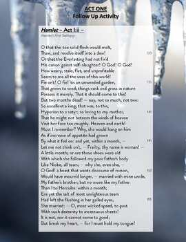 Hamlet - Act I:ii - Comparative Poetry Analysis Exercise