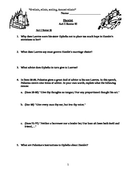 Hamlet Act I scene iii guided reading questions