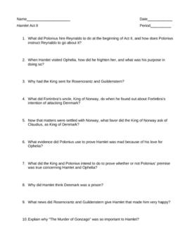 Hamlet Act II Questions