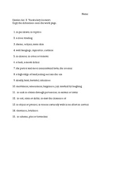 Hamlet Act II Vocabulary study guides and test with  KEY