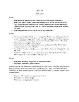 Hamlet Act III Questions