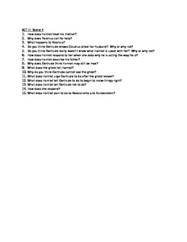 Hamlet Act III Study Guide Questions
