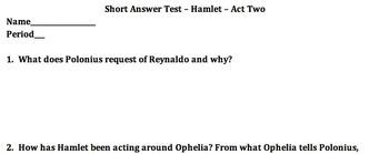 Hamlet Act II Test
