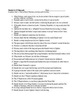 Hamlet Act II 50 Question quiz and KEY