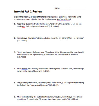 Hamlet Act Reviews and Test