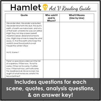 Hamlet Act 5 Activities