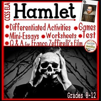 Hamlet Activity Bundle: Mini-Essays, Worksheets, RTI, Film Q&A, Games, M.C. Test