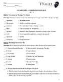 Hamlet Acts 1-5 Vocabulary & Reading Comprehension Quizzes (with Key)
