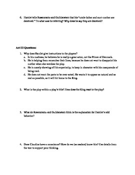 Hamlet Acts 2 and 3 Quiz