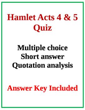 Hamlet Acts 4 & 5 Quiz