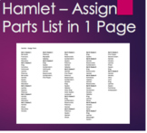 Hamlet - Assign Reading Parts on a One Page List
