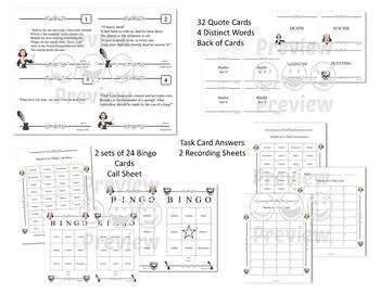 Hamlet Bingo Game and Task Cards Bundle