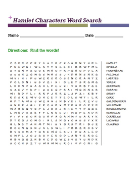 Hamlet Characters Word Search