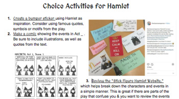 Hamlet Choice Activity (Great for Early Finishers)