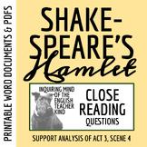 Hamlet Close Reading Analysis of Act 3 Scene 4 - Word Document