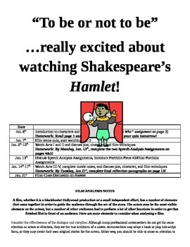 Hamlet Complete Film Analysis Unit (With Quizzes and Extension Activities)