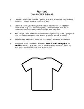 Hamlet Creative Character Analysis Activity Visual and Written