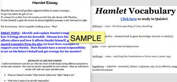 Hamlet Essay, Vocabulary List, and Project